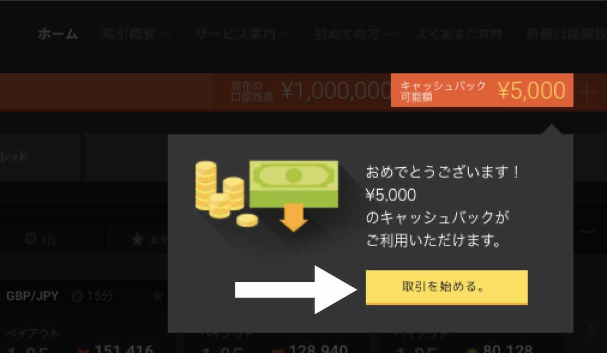 5,000円キャッシュバックを受け取り、デモ取引をスタート