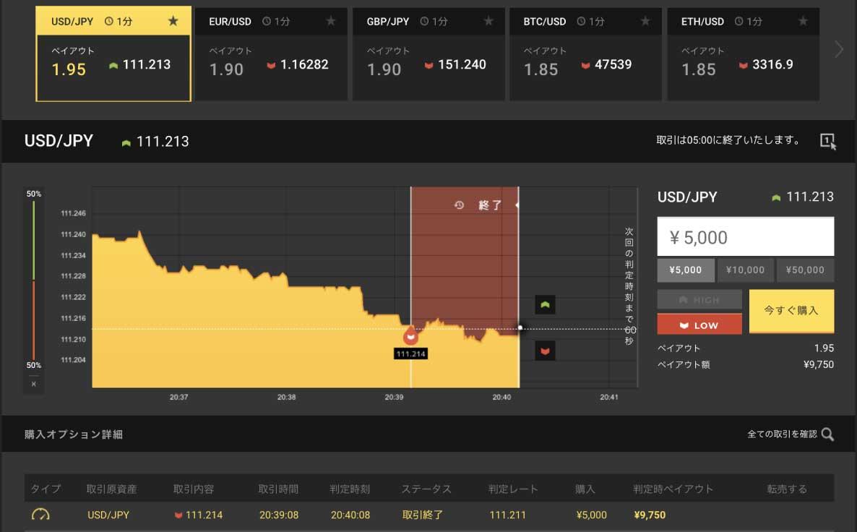 USD/JPYの下降トレンドにLowエントリーし、1分後ぎりぎり勝てました
